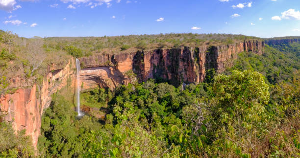 Beautiful Bridal Veil, Veu Da Bride waterfall in Chapada Dos Guimaraes National Park, Cuiaba, Mato Grosso, Brazil stock photo
