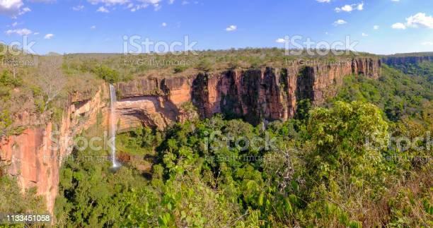 Photo of Beautiful Bridal Veil, Veu Da Bride waterfall in Chapada Dos Guimaraes National Park, Cuiaba, Mato Grosso, Brazil