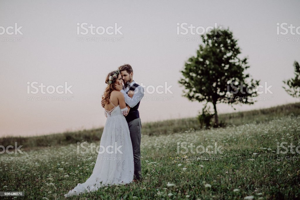 Beautiful bride and groom in green nature, hugging. stock photo