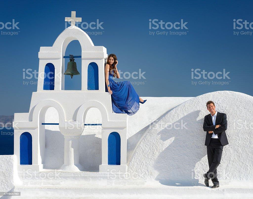 Beautiful Bride and Groom in Santorini, Greece stock photo
