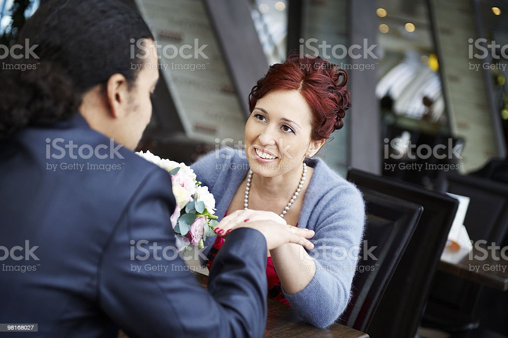 Beautiful Bride at table in cafe royalty-free stock photo