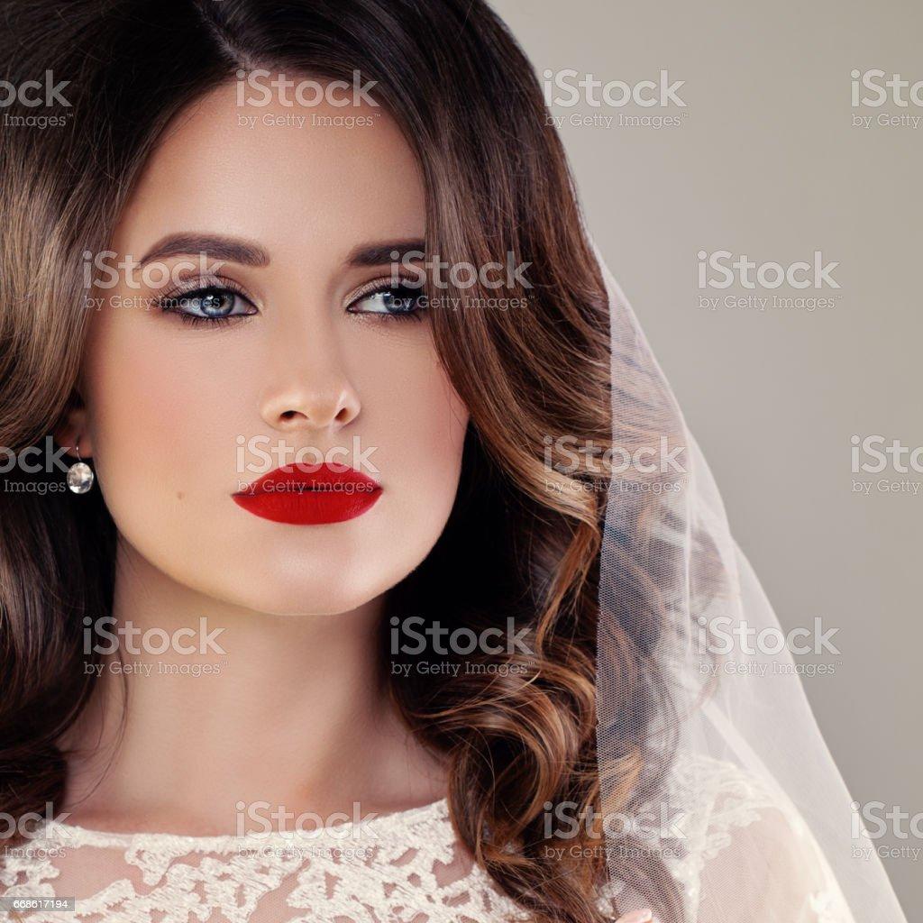 Schone Braut Modemodell Closeup Hochzeit Portrait Frau Verlobte Mit