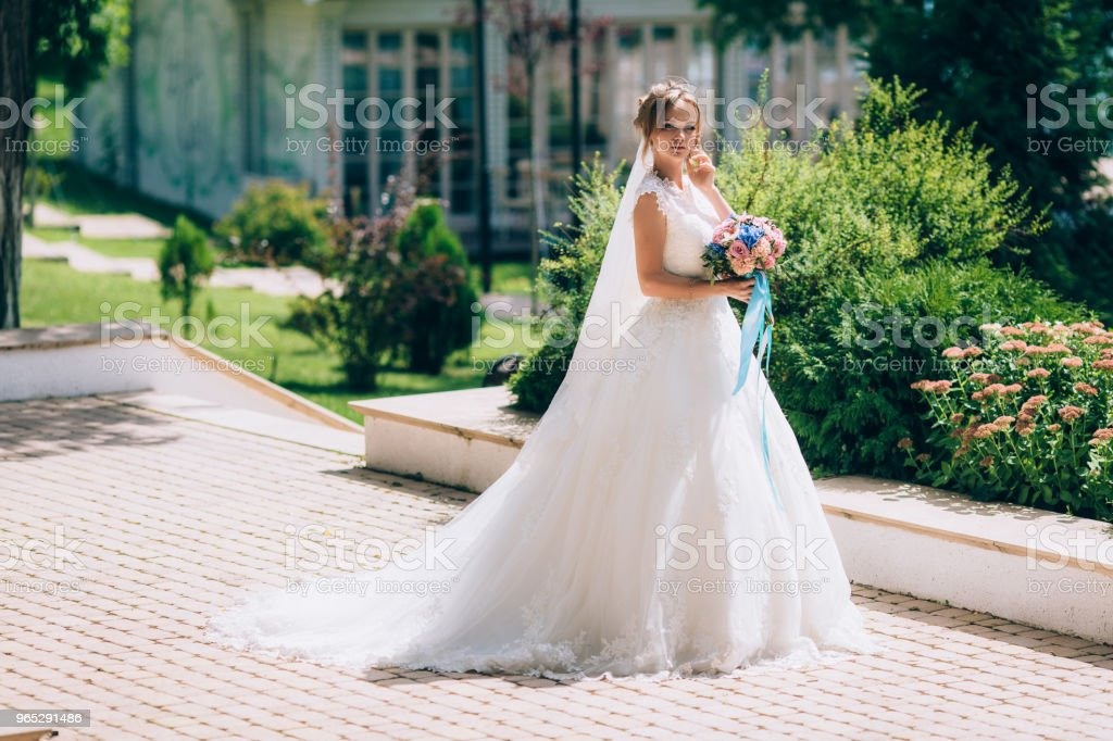 Beautiful bride in a white dress posing outdoors in a park. The girl's bouquet is rewritten with blue ribbons royalty-free stock photo