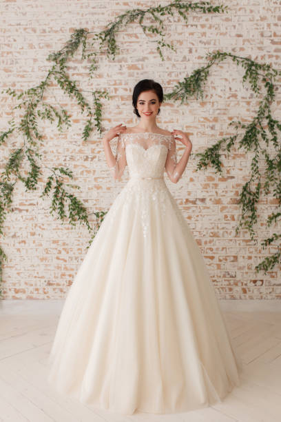beautiful bride in a white fluffy dress, wedding theme, freedom. Full-lenght portrait on rustic wall background stock photo