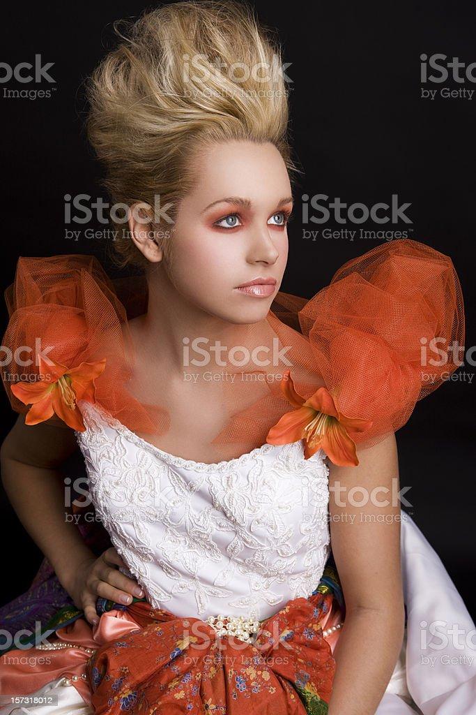 Beautiful Bride In High Fashion Orange Wedding Gown On Black Stock