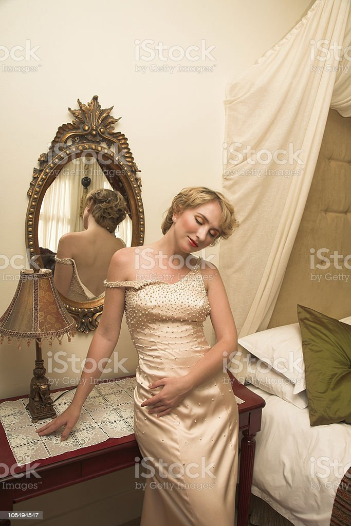 beautiful bride in satin beige pearl dress royalty-free stock photo