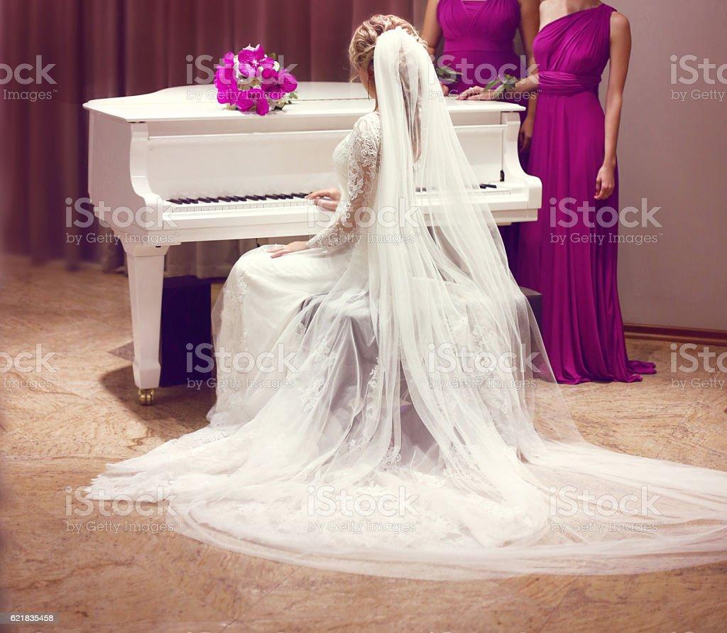 Beautiful bride in wedding dress and Bridesmaids. Fashion stock photo