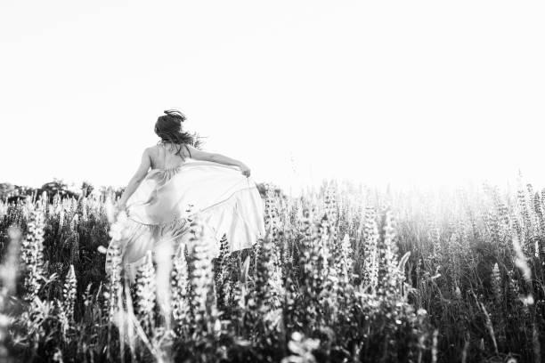 eine schöne braut im hochzeitskleid auf sonnenuntergang allein im bereich der lupinen blumen tanzen. blick von der rückseite - hochzeitsfrisur twilight stock-fotos und bilder