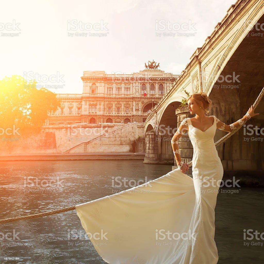 Beautiful bride near Corte di Cassazione stock photo