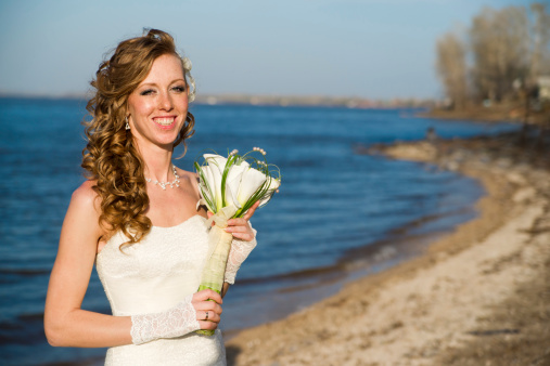 674214372 istock photo Beautiful bride on coast of river in summer 481030833