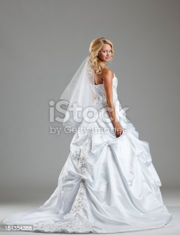 Beautiful bride looking at camera on the gray background