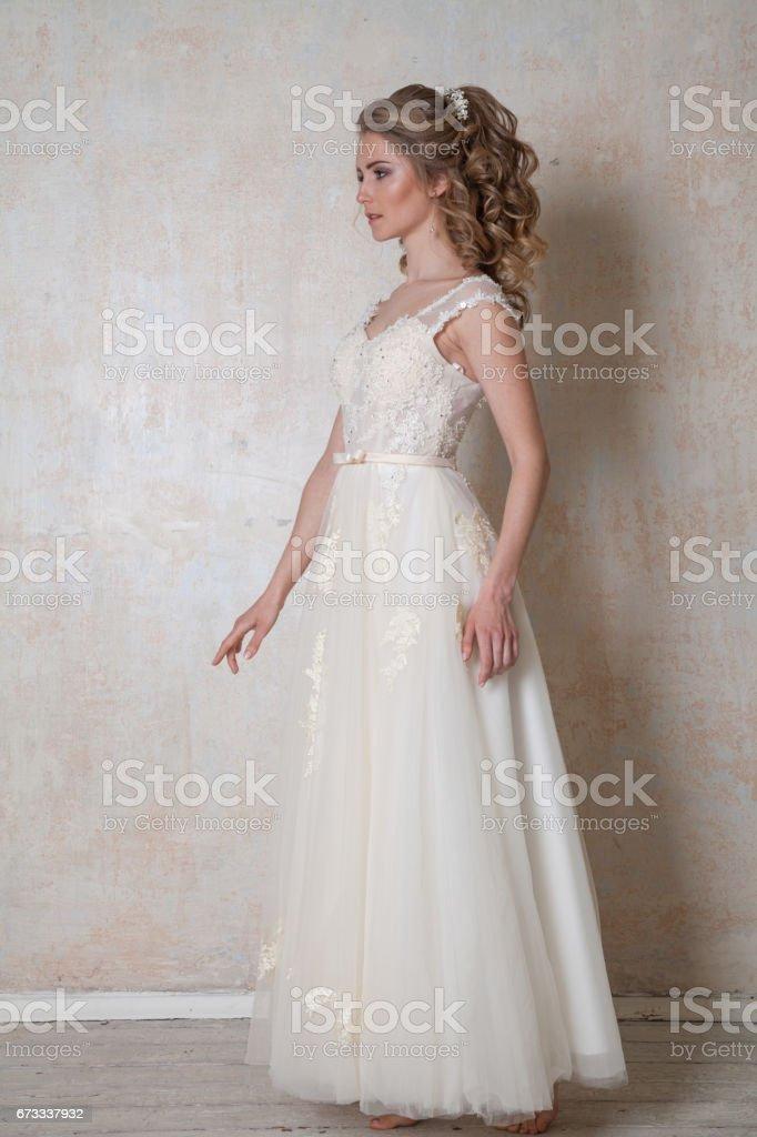 Schöne Braut Posiert Hochzeit Frisur Und Kleid Vintage