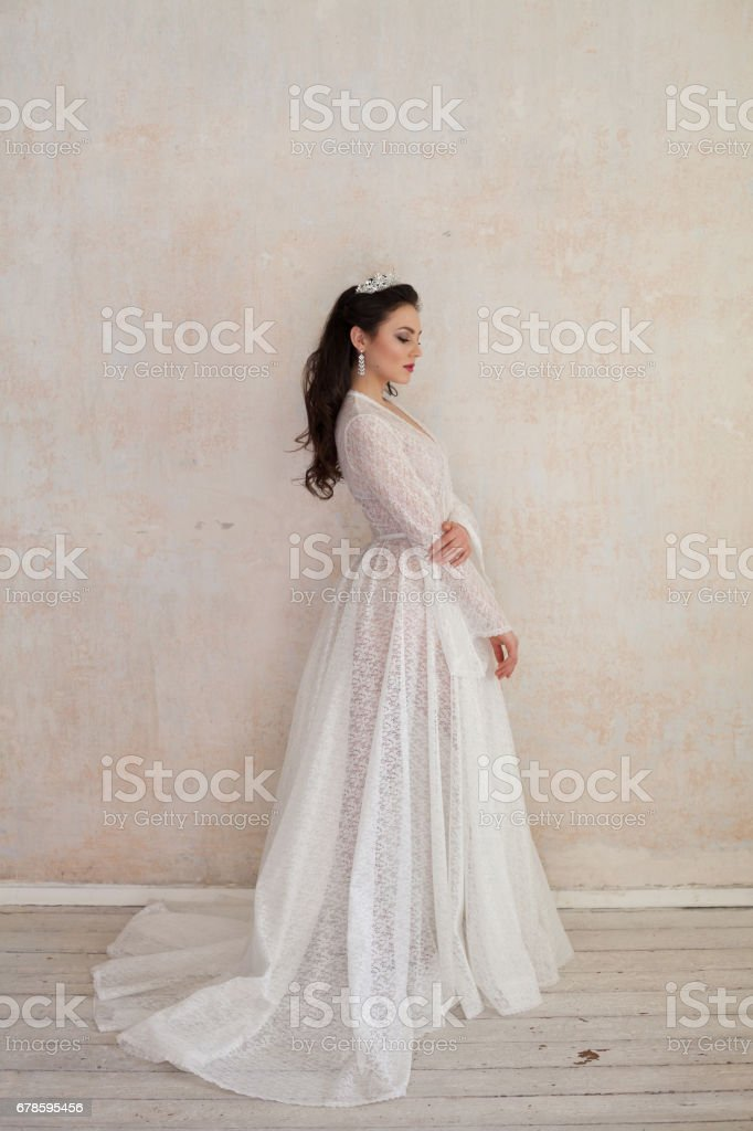 Beautiful Bride Posing Wedding Hairstyle And Dress Vintage Stock