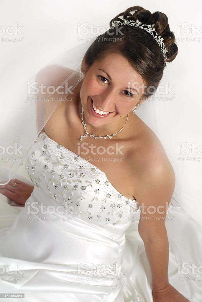 Beautiful Bride Sitting in the Floor Relaxing royalty-free stock photo