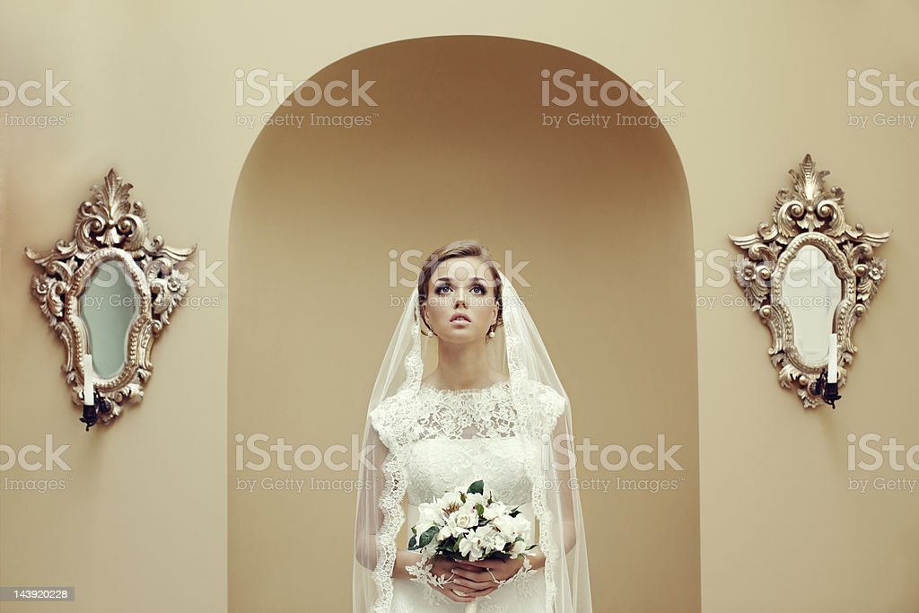 Beautiful bride waiting for the ceremony royalty-free stock photo