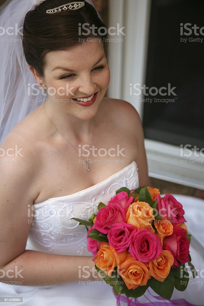Beautiful Bride with Bouquet royalty-free stock photo