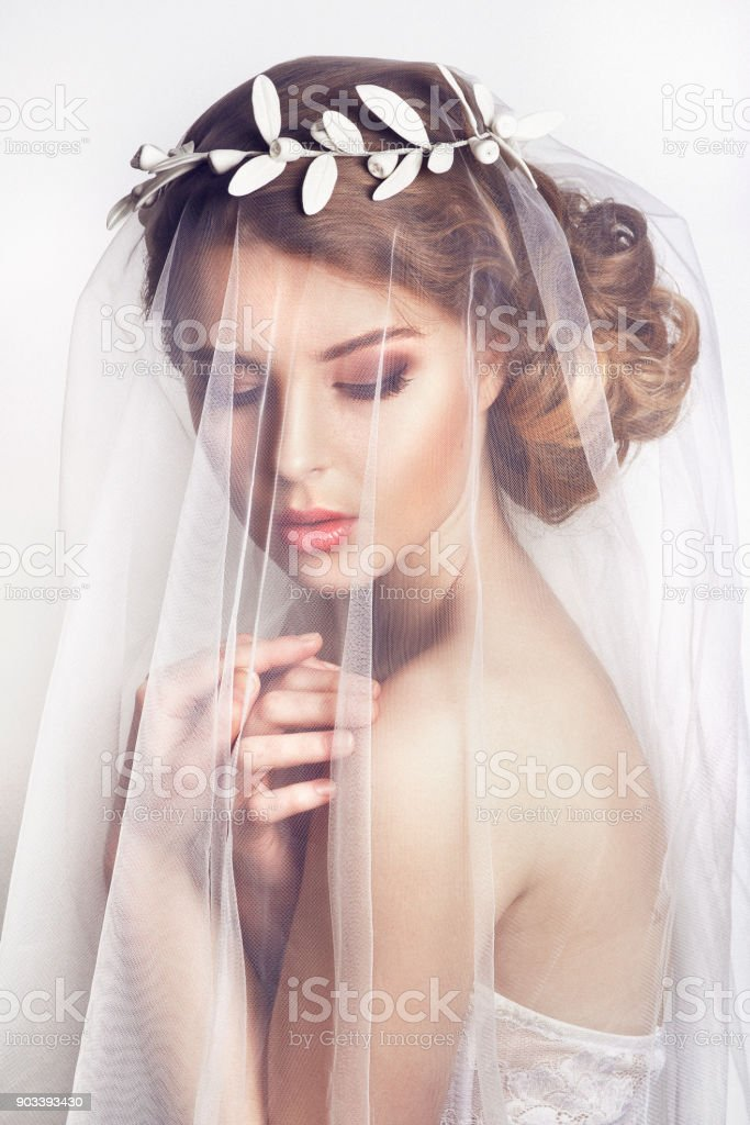 Beautiful bride with fashion wedding hairstyle - on white background. Close-up portrait of young gorgeous bride. Wedding. Beautiful bride portrait with veil over her face stock photo