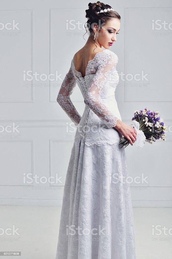 Beautiful bride with fashion wedding hairstyle stock photo