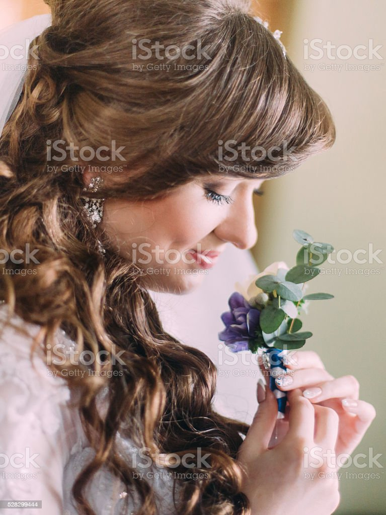 Beautiful Bride With Long Curly Hair And Veil Looking At Stock Photo Download Image Now Istock