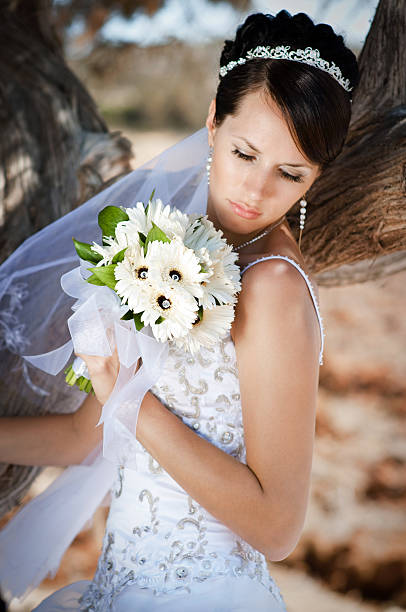 Beautiful bride with wedding bouquet. stock photo
