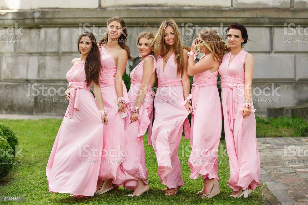 Schöne Brautjungfern in rosa Kleidern posieren und Hochzeitstag Kamera betrachten. Gruppenbild der Hochzeit Gäste ohne Braut und Bräutigam – Foto