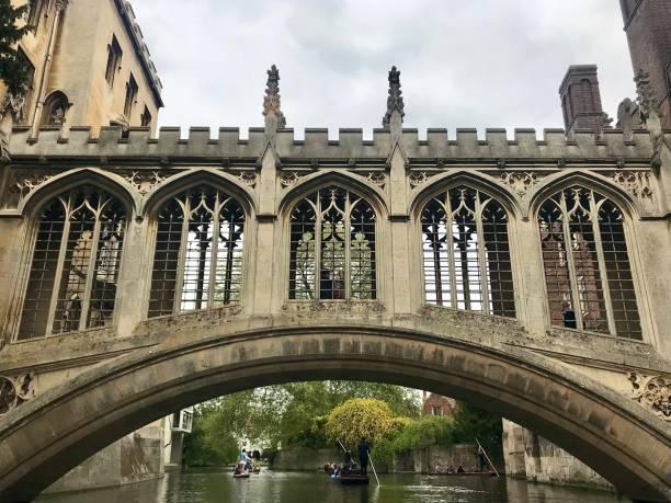 A beautiful bridge in Cambridge UK. stock photo