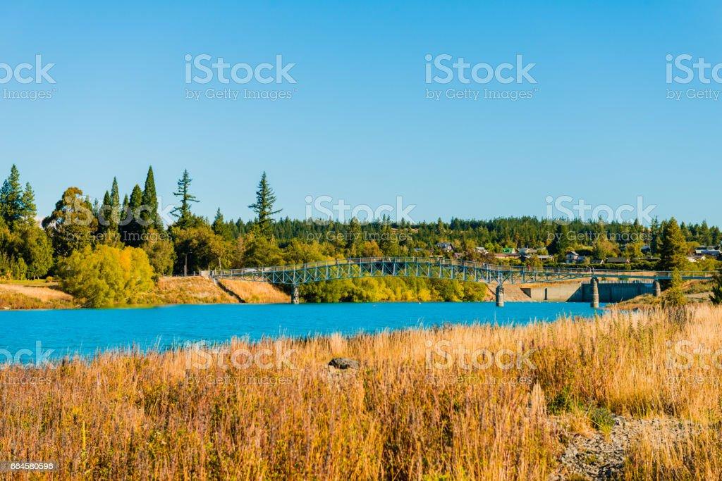 Beautiful Bridge Lake Tekapo, NewZealand stock photo