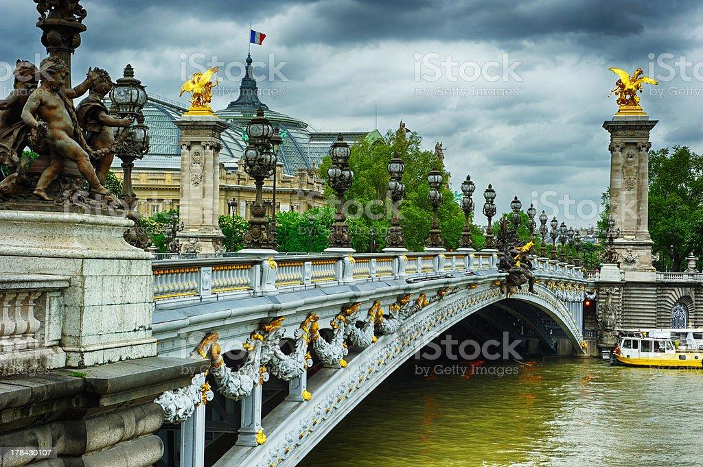 Beautiful bridge of Alexandre III in Paris stock photo