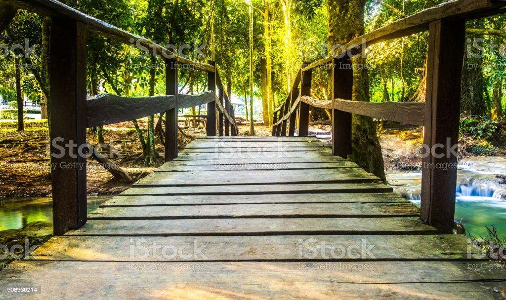 Beautiful bridge wood with Erawan Waterfall at National Park ,Kanchanaburi Province, Thailand stock photo