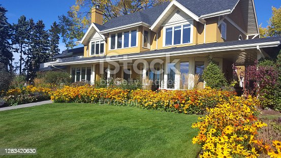 Calgary,Alberta, Canada - October 5,2020: Two storey yellow and white home with landscaped front yard and garden. Lawn,yellow gaillardia flowers. Two dormer windows at front. Bright sunny day in Autumn.