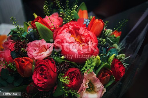 beautiful bright bouquet of different flowers