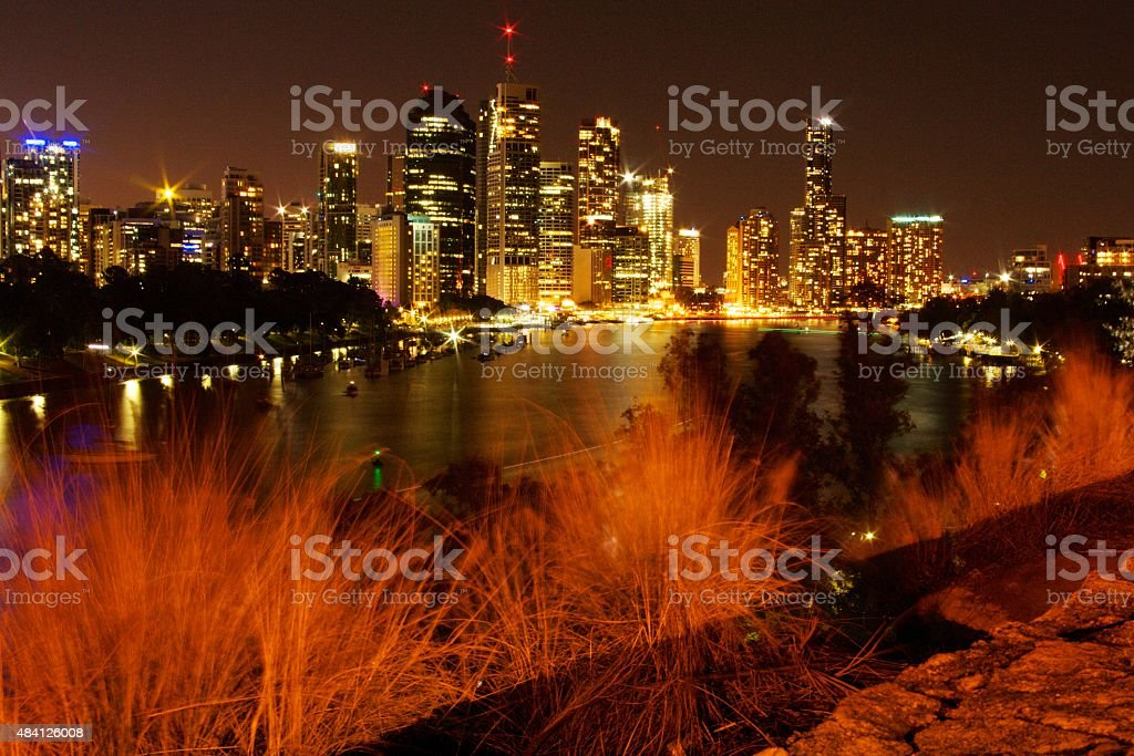 Beautiful Brisbane at Night stock photo