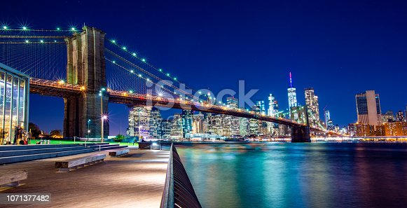Beautiful Brooklyn Bridge and the illuminated Skyline of Manhattan in the evening with blue sky and smooth water surface. Picture taken from the Brooklyn district, New York, USA.