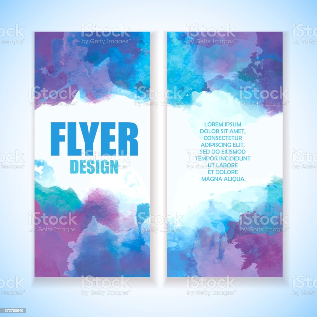 Beautiful broshure template with grunge effect. Artistic watercolor splashes with blue, indigo and violet colors. Winter style. stock photo