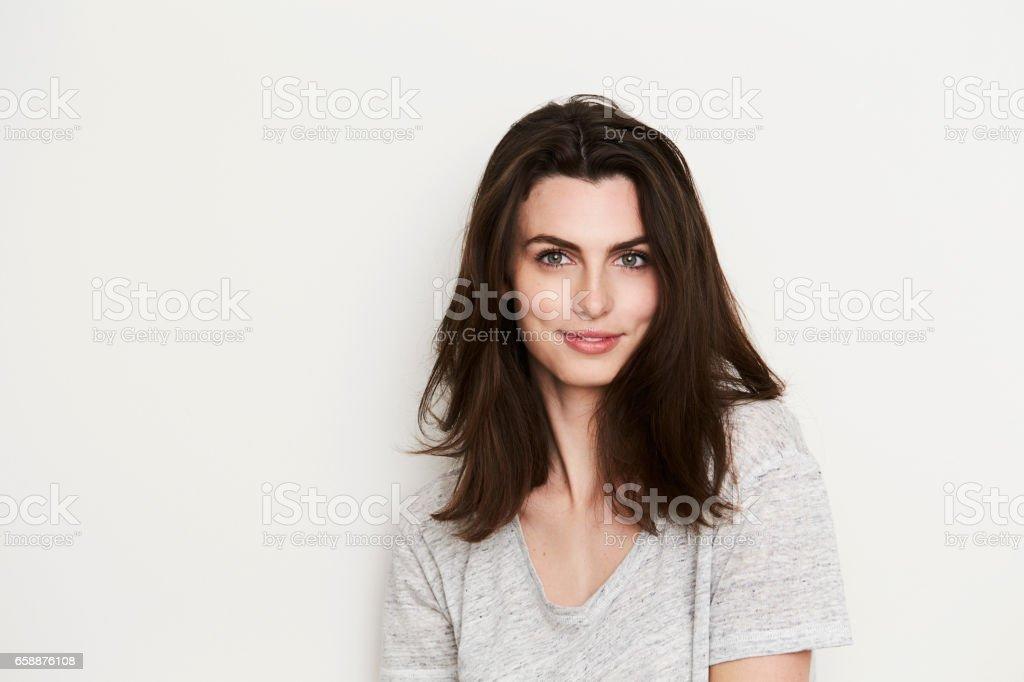 Beautiful brunette babe stock photo