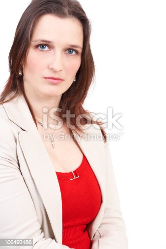 istock Beautiful brunette businesswoman 106493486