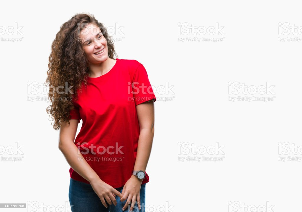 Beautiful Brunette Curly Hair Young Girl Wearing Casual Look