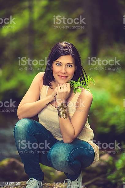 Photo of Beautiful brunette enjoying nature