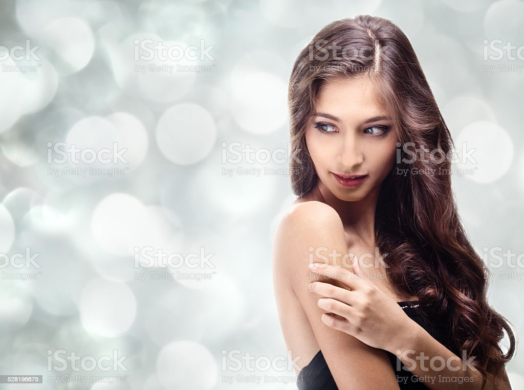 Beautiful Brunette Girl. Healthy Long Hair stock photo
