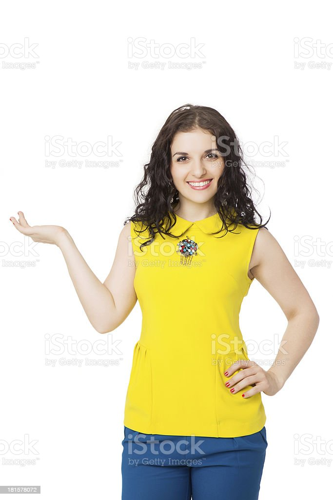 beautiful brunette girl with curly hair wearing yellow blouse royalty-free stock photo