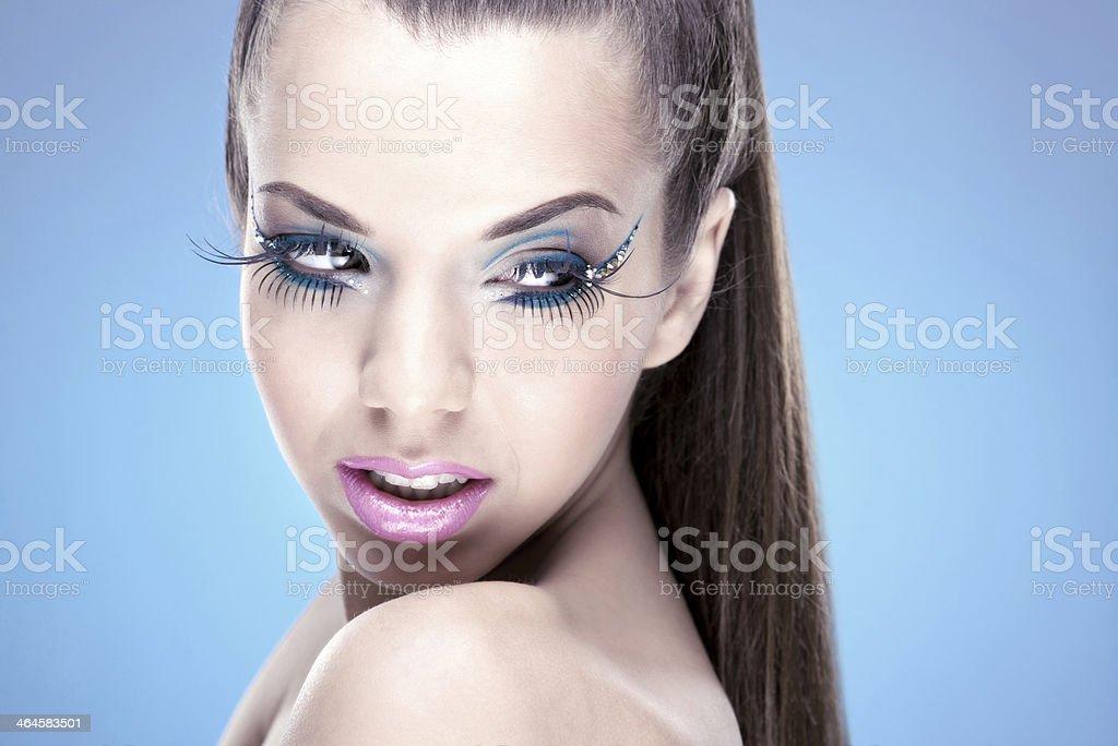 Beautiful Brunette Girl with luxury makeup stock photo
