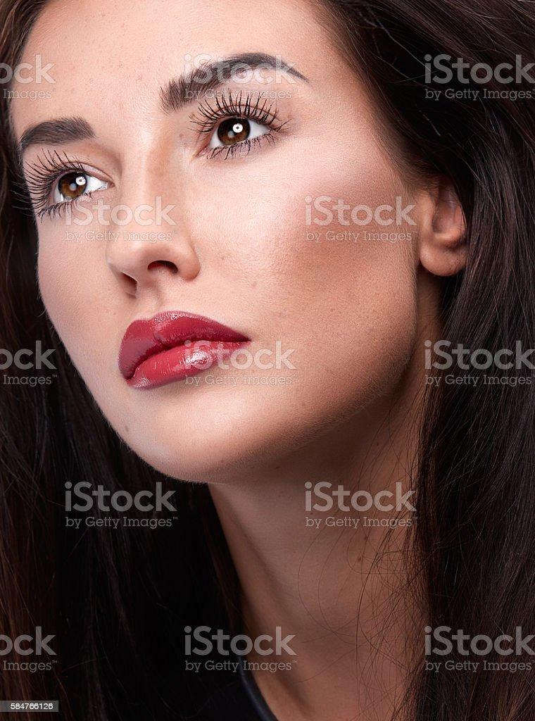 Beautiful Brunette Girl with Perfect Fresh Skin stock photo