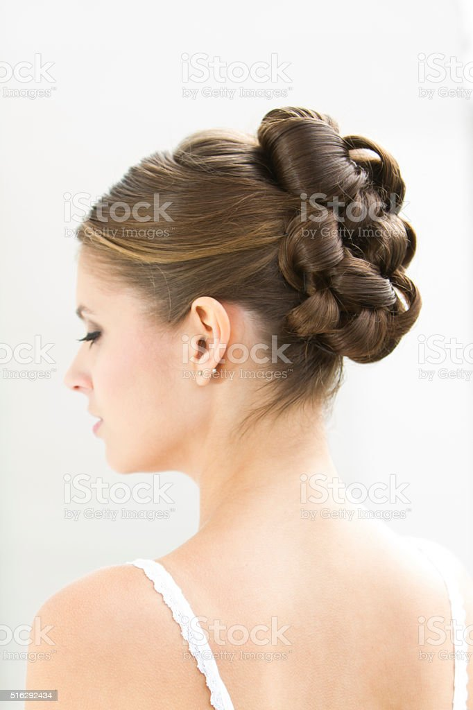 Beautiful Brunette Model With Bridal Hairstyle Profile Stock Photo