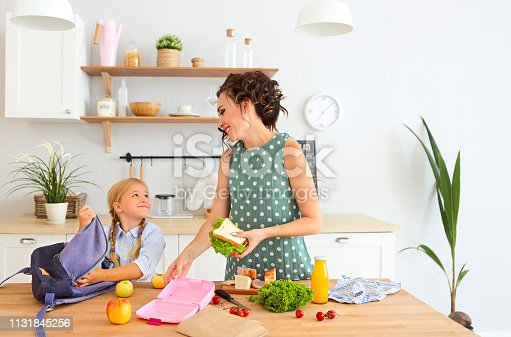istock Beautiful brunette mother and her daughter packing healthy lunch and preparing school bag 1131845256