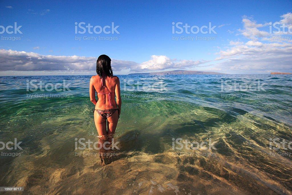 Beautiful Brunette on Tropical Shoreline stock photo