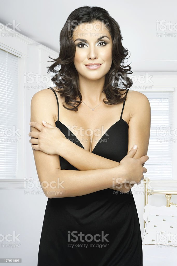 Beautiful Brunette Ready To Get Dressed royalty-free stock photo