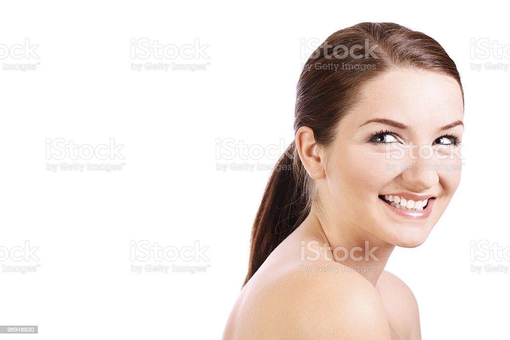 Beautiful brunette smiling royalty-free stock photo
