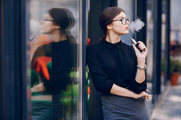 beautiful brunette with glasses stock photo
