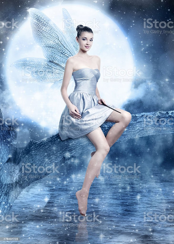 Beautiful brunette woman as silver night fairy stock photo