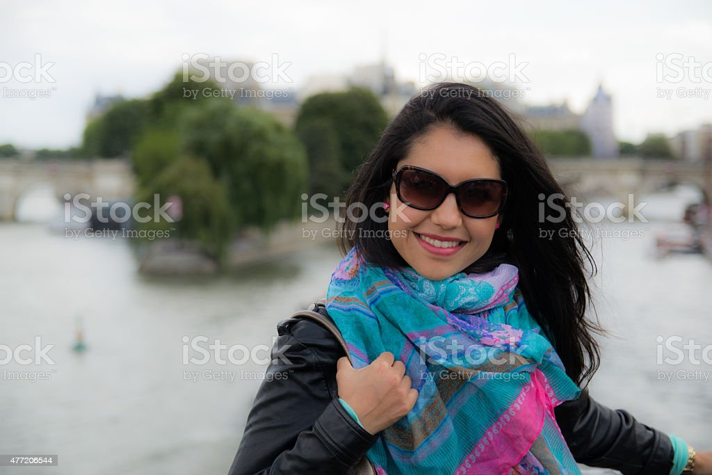 Beautiful brunette woman at Paris stock photo